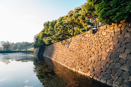 Imperial palace fortress stone wall in Tokyo, Japan