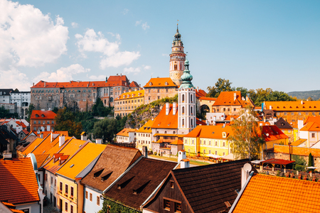 Castle Tower and old buildings in Cesky Krumlov, Czech
