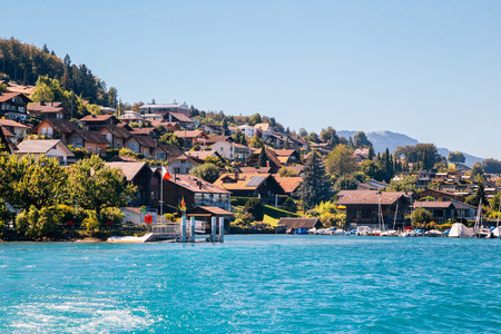 Spiez town and Thun lake in Switzerland