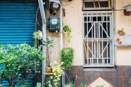 Shennong Street, vintage style shop and cafe street in Tainan, Taiwan Stock Photo