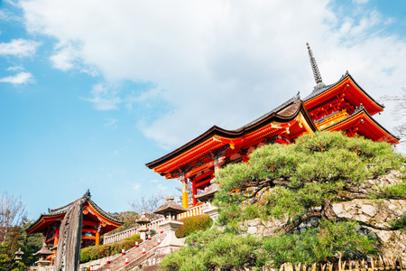 Kiyomizu-dera temple in Kyoto, Japan Redactioneel