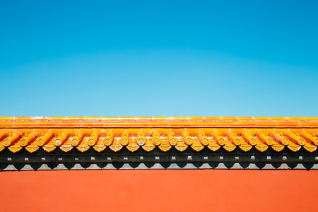 Chinese traditional wall background at Temple of Earth, Ditan Park in Beijing, China