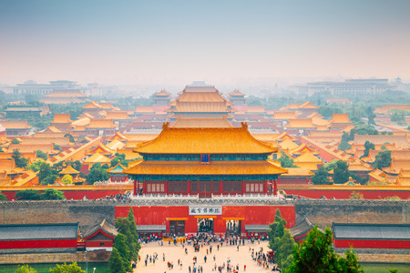Forbidden City view from Jingshan Park in Beijing, China