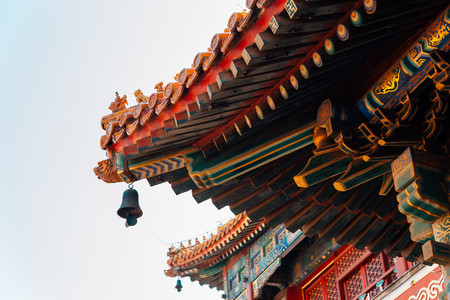Chinese traditional roof at Lama Temple in Beijing, China