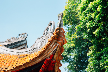 Traditional roof at Temple of literature in Hanoi, Vietnam 写真素材