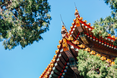 Chinese traditional roof at Confucius Temple in Beijing, China