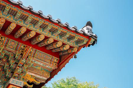 Korean traditional wooden eaves at Beomeosa temple in Busan, Korea