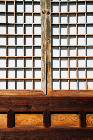 Korean traditional wooden door background Stock Photo - 122899181