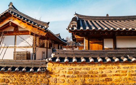 Gyochon Hanok Village, Korean traditional house in Gyeongju, Korea Imagens - 122899073