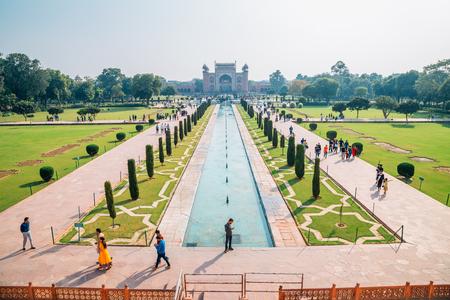 Agra, India - November 30, 2017 : Taj Mahal garden
