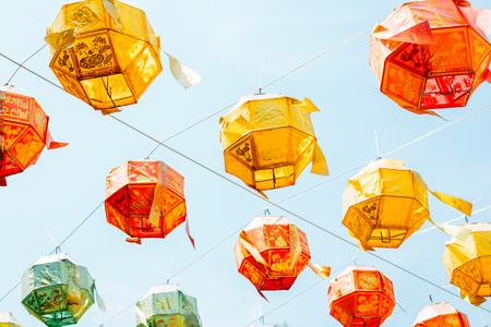 Hwaseong, Korea - May 11, 2019 : Yongjusa temple Buddhas Birthday colorful lanterns Redactioneel