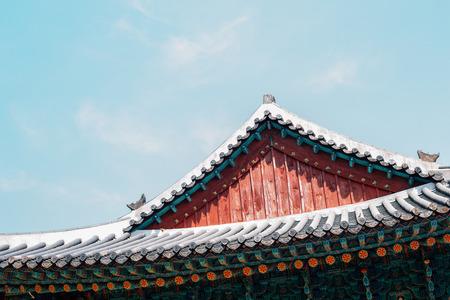 Yongjusa temple Korean traditional eaves in Hwaseong, Korea 写真素材