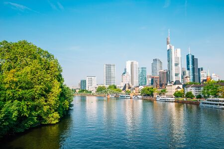 Frankfurt am Main financial district modern buildings and Main river in Germany
