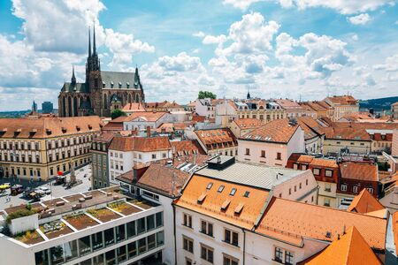 St. Peter and Pauls Cathedral and cityscape from Old Town Hall tower in Brno, Czech Republic