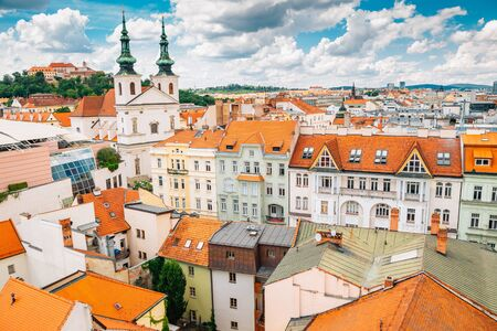 cityscape from Old Town Hall tower in Brno, Czech Republic