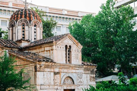 Little Metropolis church at Metropolitan Cathedral square in Athens, Greece