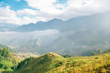 Fansipan mountain and Sapa countryside village from Fansipan tram in Vietnam Stock Photo