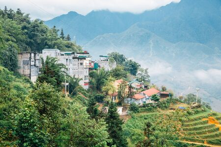 Muong Hoa Valley old village and terraced rice field in Sapa, Vietnam