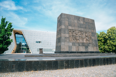Warsaw, Poland - June 14, 2019 : POLIN Museum of the History of Polish Jews and monument