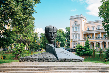 Sofia, Bulgaria - August 4, 2019 : Crystal Garden Monument of Stefan Stambolov and Central Military Club