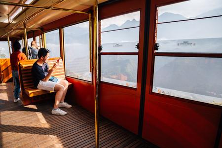 Sapa, Vietnam - October 14, 2018 : Inside of tram, Sapa city to Fansipan mountain