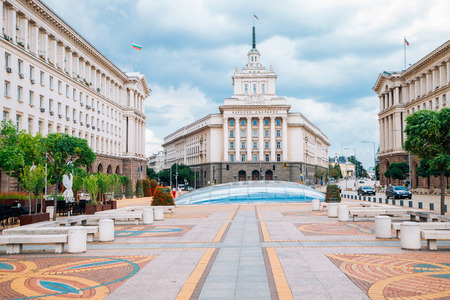 Largo square and National Assembly building in Sofia, Bulgaria