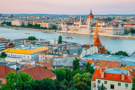 Hungarian Parliament Building and Danube river, Budapest city panorama view at sunset in Hungary