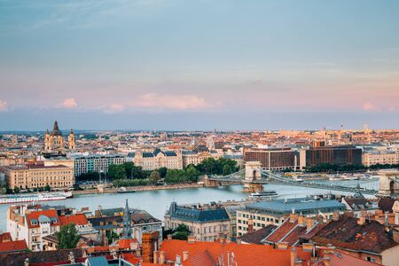 Budapest cityscape and chain bridge on Danube river at twilight sunset in Hungary Stock Photo