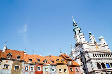 Stary Rynek old market square colorful buildings and town hall in Poznan, Poland 写真素材