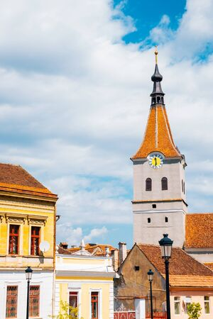 Medieval old town and church in Rasnov, Romania