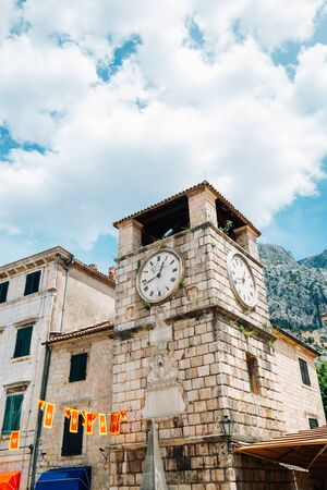 Kotor old town square clock tower in Kotor, Montenegro Фото со стока