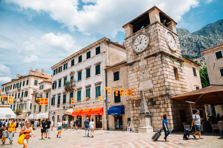 Kotor, Montenegro - July 15, 2019 : Kotor old town square Stockfoto - 130078689