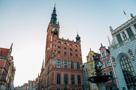 Town Hall and Neptune's Fountain at Dlugi Targ (Long Market) street in Gdansk, Poland