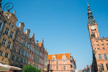 Colorful buildings and Town Hall at Dlugi Targ (Long Market) street in Gdansk, Poland