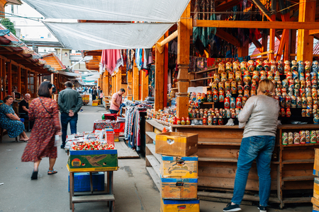 Moscow, Russia - August 21, 2019 : Izmailovo Market traditional local market