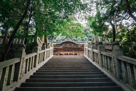 Kagawa, Japan - April 16, 2019 : Kotohira-gu shrine and stairway 新闻类图片