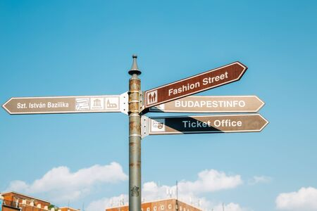 Direction signpost for tourist in Budapest, Hungary