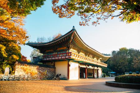 Seoul, Korea - November 2, 2018 : Children's Grand Park entrance at autumn Sajtókép