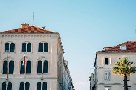 Riva street old buildings in Split, Croatia