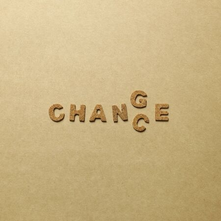 Word change to chance. Opportunity, development concept