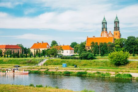 Poznan cathedral and river at Ostrow Tumski in Poland