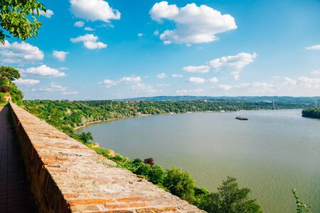 Danube river panorama view from Petrovaradin Fortress in Serbia