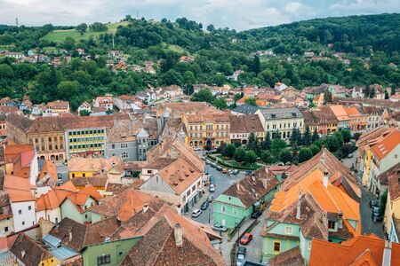 Sighisoara old town panorama view in Romania Stock Photo