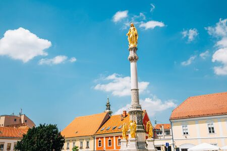 Holy Mary Monument at Zagreb Cathedral square in Zagreb, Croatia