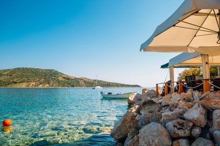 Adriatic beach at summer in Primosten, Croatia Stock Photo