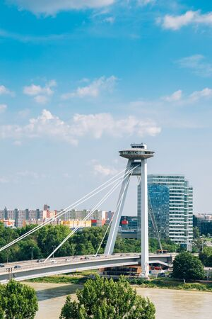 UFO Observation Deck and bridge on Danube river in Bratislava, Slovakia