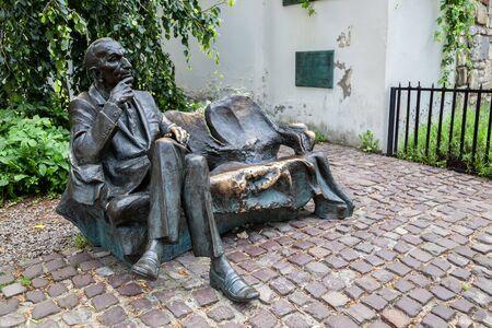 Krakow, Poland - June 15, 2019 : Jan Karski Bench statue at Kazimierz district Jewish quarter