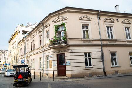 Krakow, Poland - June 15, 2019 : Ghetto square Eagle Pharmacy Museum at Podgorze district Redactioneel