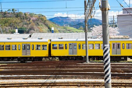 Hikone railway station at spring in Shiga, Japan 版權商用圖片 - 137848379