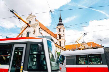Church of St. Thomas and tram in Brno, Czech Republic